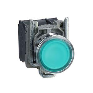 Harmony XB4 - poussoir lumineux LED - 1F+1O - vert - D=22 - 24VACDC