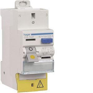 Interrupteur différentiel 2P 40A 30mA type AC à bornes décalées SanVis