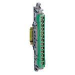 Bornier de répartition isolé IP2X terre 1 connexion 6 à 25mm² - vert - 113mm