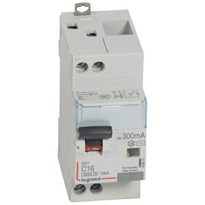DX3 DISJ DIFFERENTIEL 1P+NG C 16A 6000A/ 10KA AC 300MA 2 MODULES