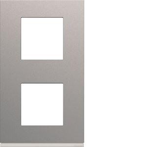 Plaque gallery plastique peint 2 postes verticale 71mm titane