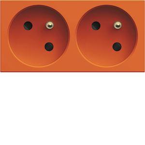 Prise de courant double speciale goulotte gallery 2P+T 16A orange
