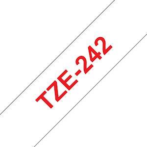 Ruban TZe242, 18mm Red sur fond Blanc, Laminé, 8M