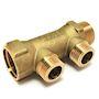 Collecteur matricé, entraxe 35mm sortie mâle Joint Plat  In3/4 - Out1/2