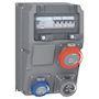 COFFRET MULTIPRISES + DISJ ET INTER DIFF 1X2P+T 16A 230V+1PC NFC+1X3P+T 32A 400V
