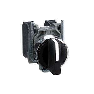 Harmony XB4 - bouton tournant manette - D=22 - 3 pos fix - noir - 2F - vis étrie