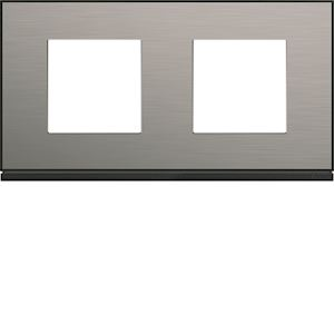Plaque gallery 2 postes horizontale 71mm placage steel