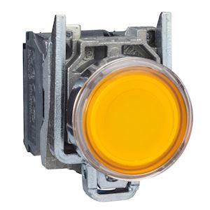 Harmony XB4 - poussoir lumineux LED - 1F+1O - orange - D=22 - 24VACDC
