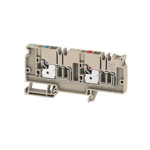 Bloc de jonction d'alimentation, PUSH IN, 6 mm², 250 V, 41 A, Beige foncé