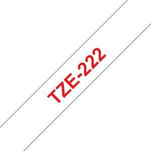 Ruban TZe222, 9mm Red sur fond Blanc, Laminé, 8M