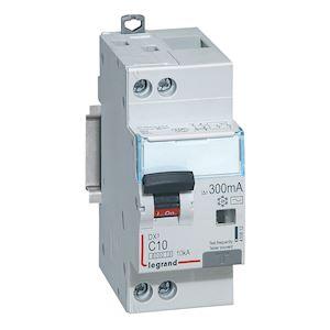 DX3 DISJ DIFFERENTIEL 1P+NG C 10A 6000A/ 10KA AC 300MA 2 MODULES