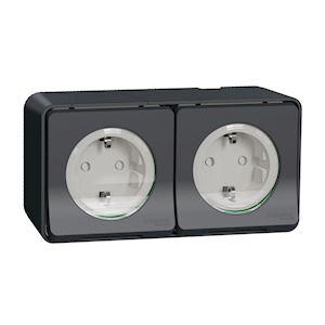 Double prise de courant 2P+T 16A bornes à vis Schneider Ovalis blanc S261089