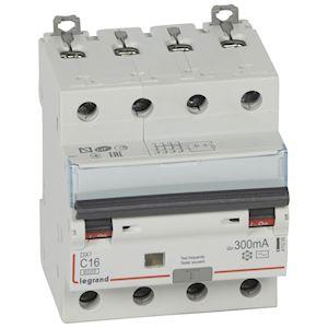 DX3 DISJ DIFFERENTIEL 4P C 16A 6000A AC 300MA 4 MODULES