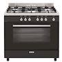 Cuisinière e-Cooker 90 x 60 cm noire brillante - Four gaz catalyse 109 L - Gril