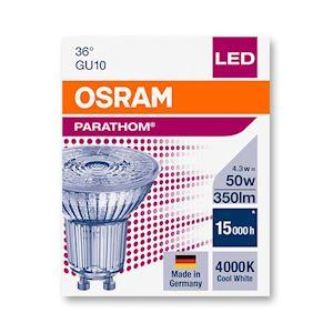 LED SPOT PARATHOM PAR16 50 Verre 36DEG GU10 4,3W 350lm 4000K