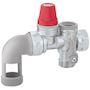 Groupes securite sécurité coudé  chromé 3/4' Thermador-Caleffi NF et ACS  pour chauffe eau jusqu'à 10kW. Embout coudé pivotant.