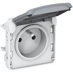 Prise de courant 2P+T avec éclips Plexo composable IP55 16A 250V - gris