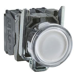 Harmony XB4 - poussoir lumineux LED - 1F+1O - blanc - D=22 - 24VACDC