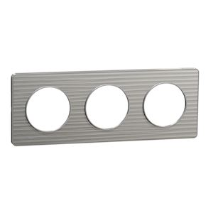 Odace Touch plaque Aluminium brossé croco liseré Alu 1 poste SCHNEIDER S530802J1