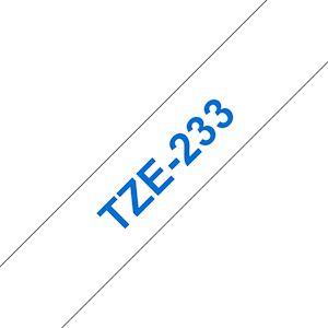 Ruban TZe233, 12mm Bleu sur fond Blanc, Laminé, 8M