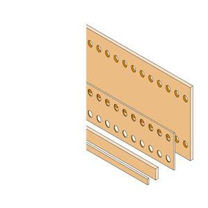 Barre Cuivre Plate 50x5mm perforée D=2x10,5mm L=1750mm