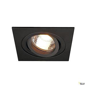 PIREQ GU10 CARRE encastré, noir mat, max. 50W, clips ressorts