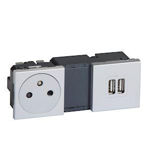 MOSAIC PRISE 2P+T + CHARGEUR 2 USB A+A 2.4A 12W 2X2 MOD ALU