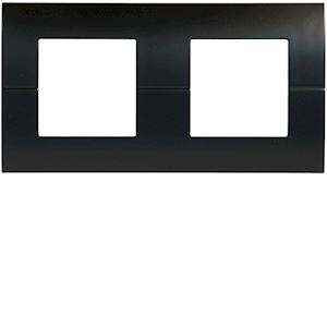 Systo plaque double horizontale entraxe 71 2x2 modules Noir