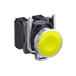 Harmony XB4 - bouton poussoir à impulsion - D=22 - jaune - 1F - vis étrier