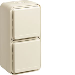 cubyko Prise double verticale 2P+T saillie blanc IP55