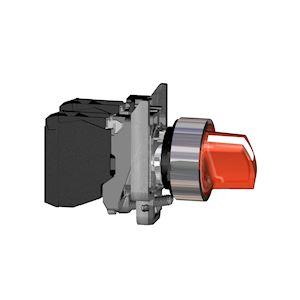 Harmony XB4 - bouton à manette lumin - D=22 - 2 pos fix - rouge - 1O+1F - 24V